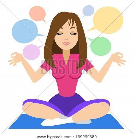 Woman doing yoga meditation. Girl doing relaxation. Vector illustration