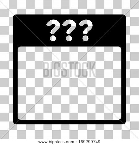 Unknown Calendar Page icon. Vector illustration style is flat iconic symbol black color transparent background. Designed for web and software interfaces.
