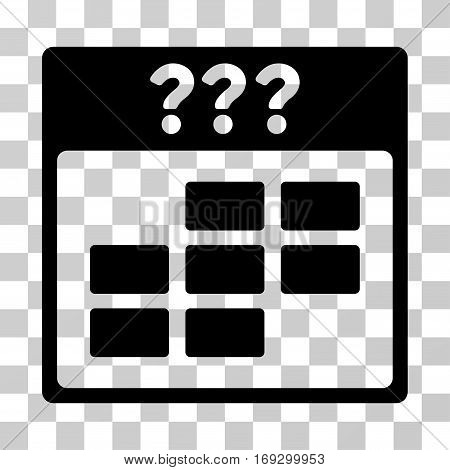 Unknown Month Calendar Grid icon. Vector illustration style is flat iconic symbol black color transparent background. Designed for web and software interfaces.