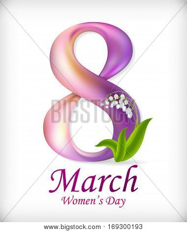 8 March Women's Day greeting card template. Amazing figure eight. Vector