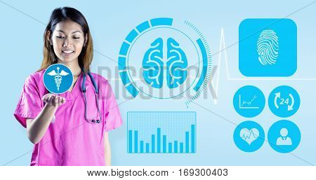 Asian nurse stretching out hand against medical background with blue ecg line
