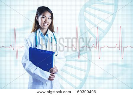 Asian doctor holding blue binder against red ecg line with faint helix