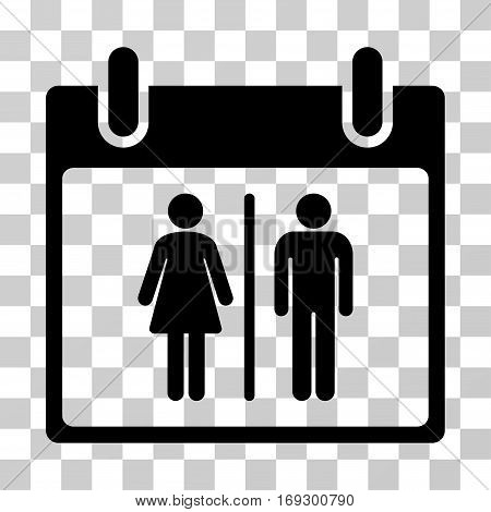 Water Closet Calendar Day icon. Vector illustration style is flat iconic symbol black color transparent background. Designed for web and software interfaces.