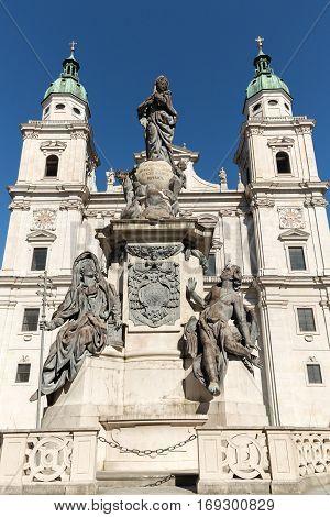 Cathedral of Saints Rupert and Vergilius and Marian column in Domplatz. Salzburg Austria