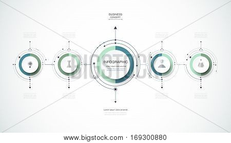 Vector infographics design template with 3D paper label, integrated circles background. Blank space for content, business, infographic, diagram, digital network, flowchart, process, diagram