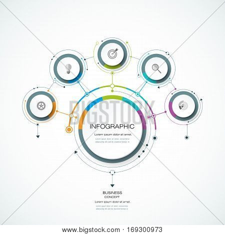 Vector Infographic 3D circle label design template with arrows sign and 5 options or steps. Infographics for business, presentations or information, banner, process, diagram, flow chart, graph, scheme