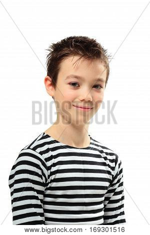 Smiling boy in striped shirt on white background
