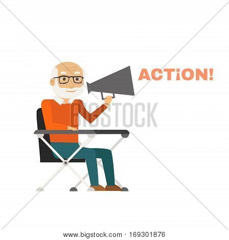 Director sitting on chair with megaphone. Vector Illustration