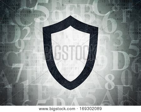 Security concept: Painted black Contoured Shield icon on Digital Data Paper background with  Hexadecimal Code