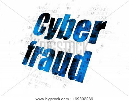 Protection concept: Pixelated blue text Cyber Fraud on Digital background