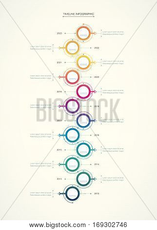 Vector infographics timeline design template with 3D paper label, integrated circles background. Blank space for content, business, infographic, diagram, digital network, flowchart, process, diagram, time line