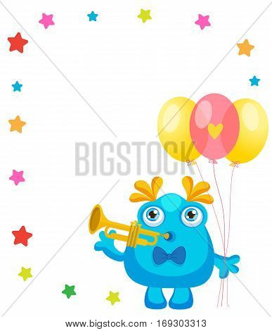 Holiday Everyday. Cute Little Monster Invitation Cartoon Vector Collection. Beautiful Birthday Monster Celebration Card With Space For Text. Let's Make a Holiday.