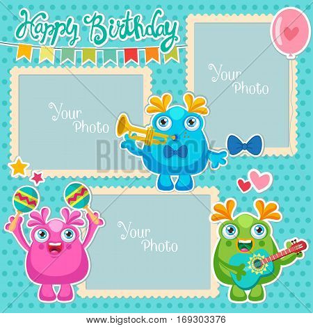 Birthday Vector Photo Frames With Cute Monsters. Decorative Template For Baby Family Or Memories. Scrapbook Vector Illustration. Birthday Children's Photo Framework.