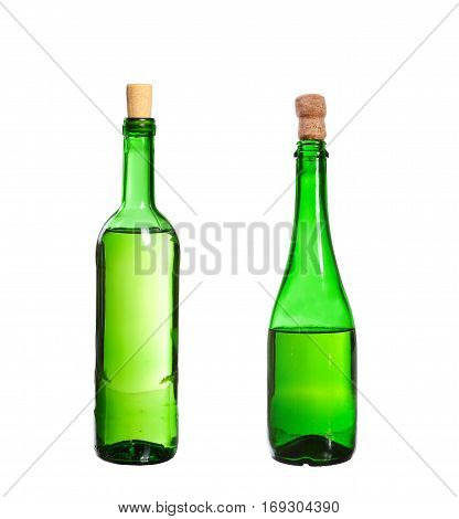 Three Empty Unlabeled Bottles Isolated On White Background