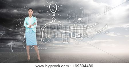Elegant businesswoman with crossed arms against ominous landscape