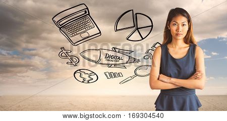 Businesswoman with crossed arms against ominous landscape