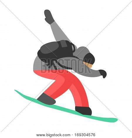 Snowboarder man trick vector illustration. Downhill dangerous guy season extreme sport. Young fast character fun speed action. Jumper athlete activity.
