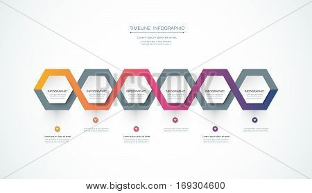 Vector infographics timeline design template with 3D paper label, integrated hexagon background. Blank space for content, business, infographic, marketing, flowchart, process, diagram, time line