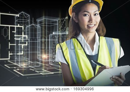 Architect woman with yellow helmet and plans against blueprint interface