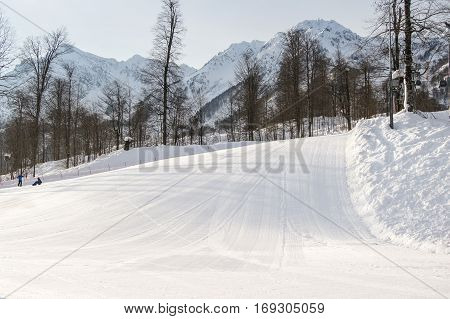 Small ski slope. The complex mountain-ski runs and facilities in the village of Rosa Khutor.