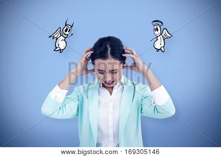 Worried businesswoman holding her head against blue background with vignette