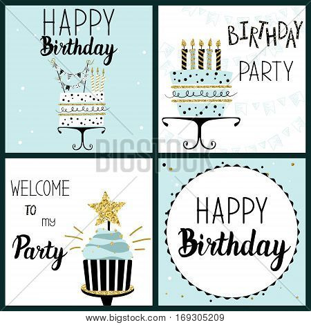Happy Birthday Party cards set with cake cupcake topper candles and lettering text. Vector hand drawn illustration.