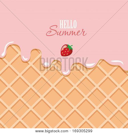 Ice cream macro texture. Melted pink cream on wafer background. Hello summer quote. Vector EPS10.