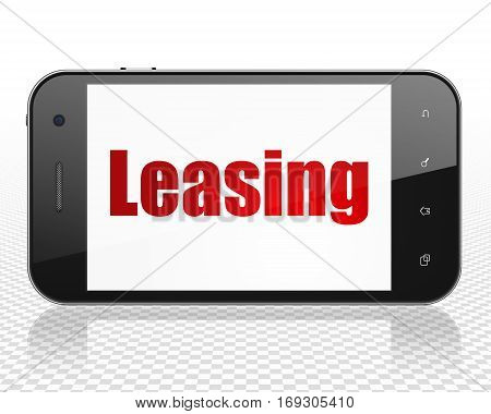 Finance concept: Smartphone with red text Leasing on display, 3D rendering