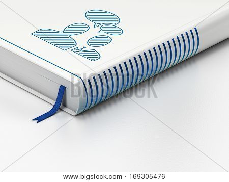 Finance concept: closed book with Blue Business Meeting icon on floor, white background, 3D rendering