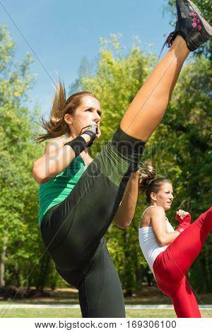 Young women doing high kicks in TaeBo training