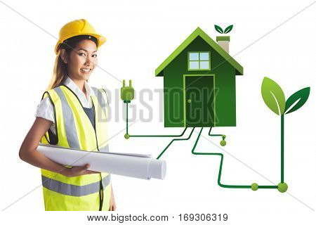 Architect woman with yellow helmet and plans against clean energy house