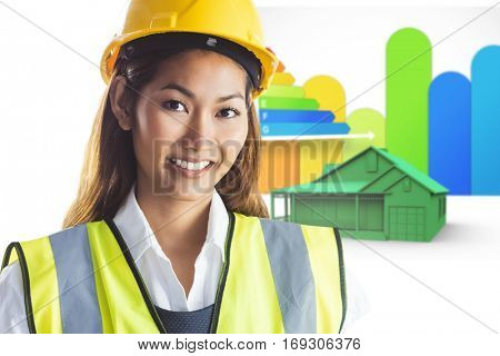 Architect woman with yellow helmet and plans against house with energy rating background