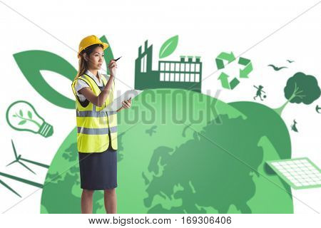 Architect woman with yellow helmet and plans against fair trade graphic