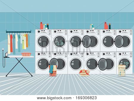 A row of industrial washing machines in laundry shop Laundry service banner concept laundry room with facilities for washing clothes vector illustration.