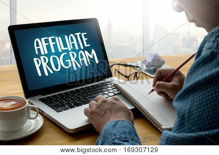 Affiliate Program Thoughtful Male Person Looking To The Digital Tablet Screen, Laptop Screen,silhoue