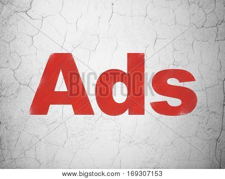 Marketing concept: Red Ads on textured concrete wall background