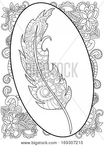 Feather in the frame around the abstract patterns coloring book for adults vector illustration. Anti-stress coloring for adult. Zentangle style. Black and white lines listen. Lace pattern