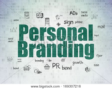 Advertising concept: Painted green text Personal Branding on Digital Data Paper background with  Hand Drawn Marketing Icons