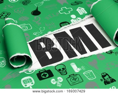 Health concept: black text BMI under the curled piece of Green torn paper with  Hand Drawn Medicine Icons, 3D rendering