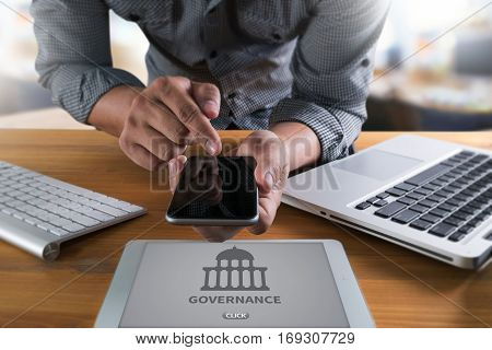 Governance And  Building, Authority   Computing Computer  Laptop With Screen On Table Silhouette And