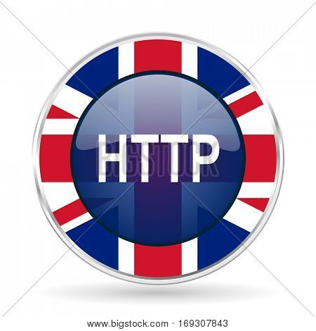 http british design icon - round silver metallic border button with Great Britain flag