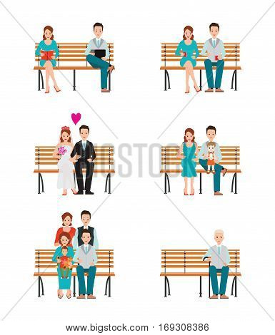 Family Generations Development Stages Process Over Time Stages of life of young couple childhood friendship first date and wedding first baby old parents and adult son Detailed character people vector illustration.
