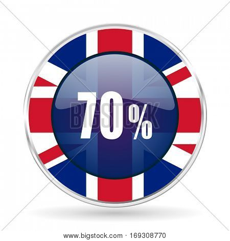 70 percent british design icon - round silver metallic border button with Great Britain flag