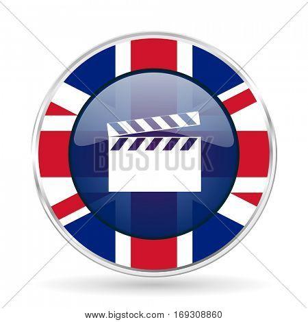 video british design icon - round silver metallic border button with Great Britain flag