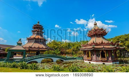 Bangkok, Thailand - December 30 2015: Phra Kaew Pavilion Is Wooden Octagonal Shape Structure Where H