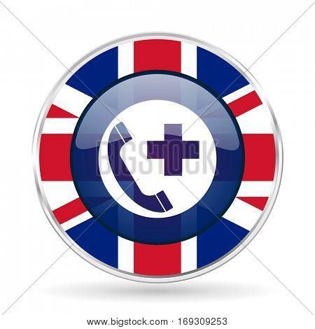 emergency call british design icon - round silver metallic border button with Great Britain flag
