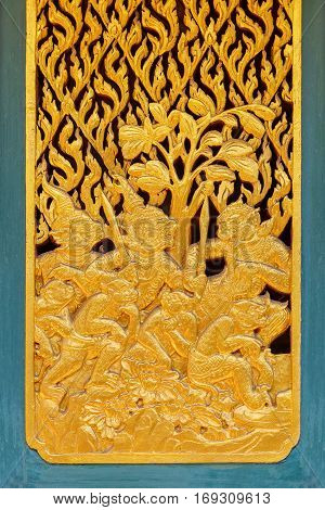Bangkok, Thailand - December 30 2015: Thai Traditional Wood Carving With Gold Plated Decorated At Ph