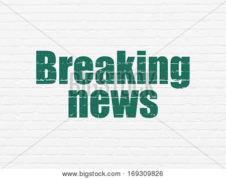 News concept: Painted green text Breaking News on White Brick wall background