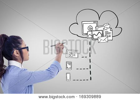 Businesswoman holding disposable cup and looking at wall with notes against grey vignette