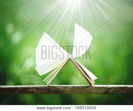 open book by wind on blurred nature background learning concept